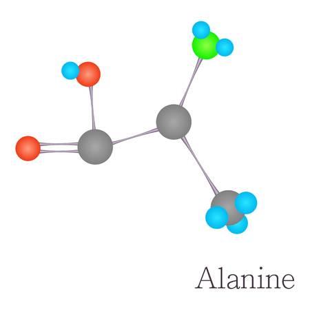 Alanine 3D molecule chemical science