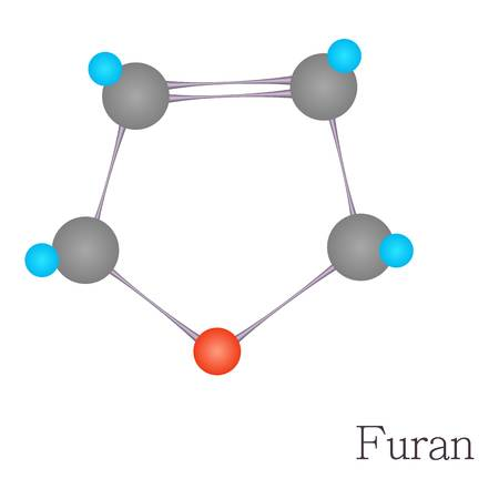 Furan 3D molecule chemical science, cartoon style Illustration