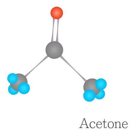 아세톤 3D 분자 화학 일러스트