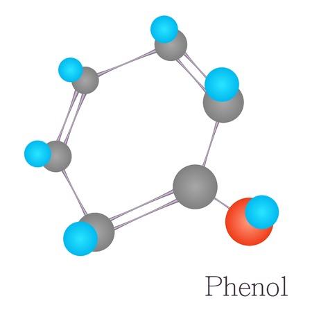 Phenol 3D molecule chemical science, cartoon style