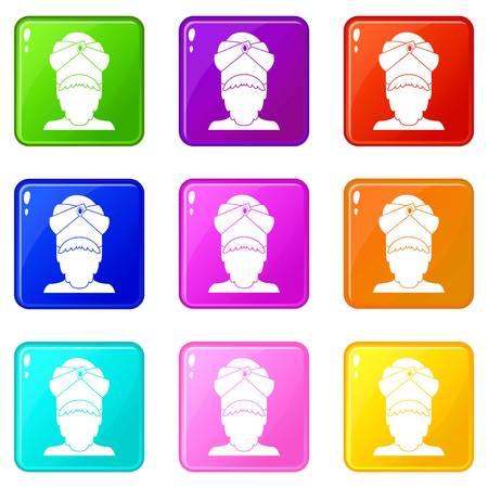 sikh: Indian man icons 9 set