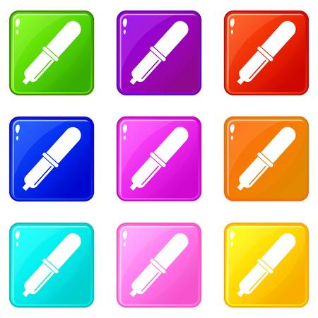 Pipette icons 9 set