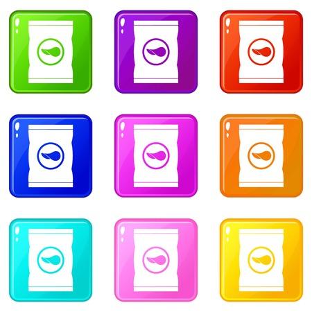foil: Chips plastic bag icons 9 set Illustration