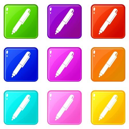 underline: Marker pen icons 9 set