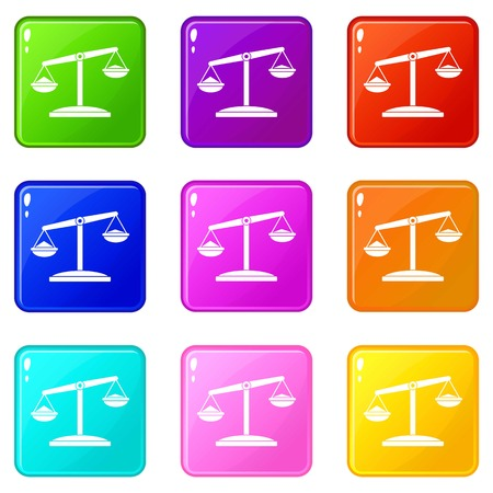 justice scale: Retro scales icons 9 set