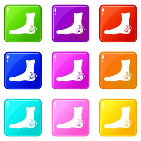 Foot heel icons 9 set
