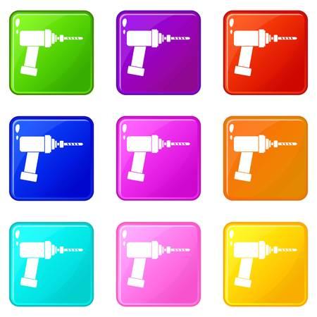 Medical drill icons 9 set Illustration