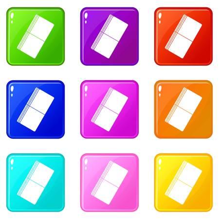 Eraser icons 9 set Illustration