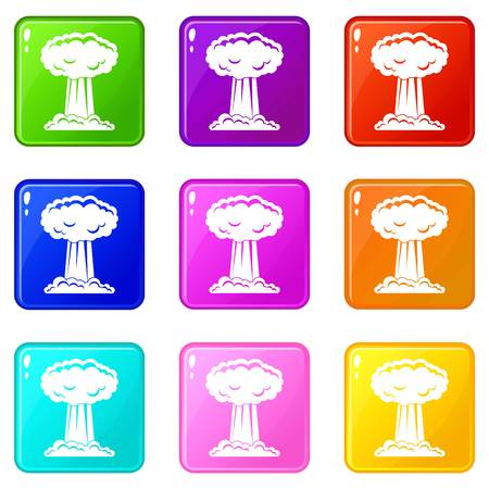 chernobyl: Mushroom cloud icons 9 set Illustration