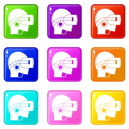 Vr headset icons 9 set