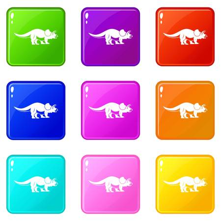 Styracosaurus icons 9 set