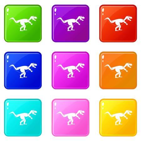Tyrannosaur dinosaur icons 9 set Stock Vector - 82151103