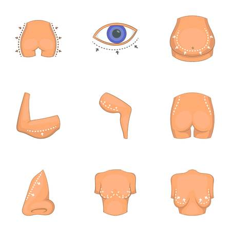Ideal body shape icons set, cartoon style Illustration
