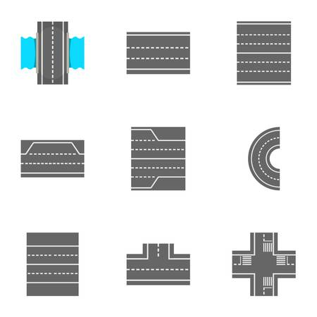 Roads icons set, cartoon style