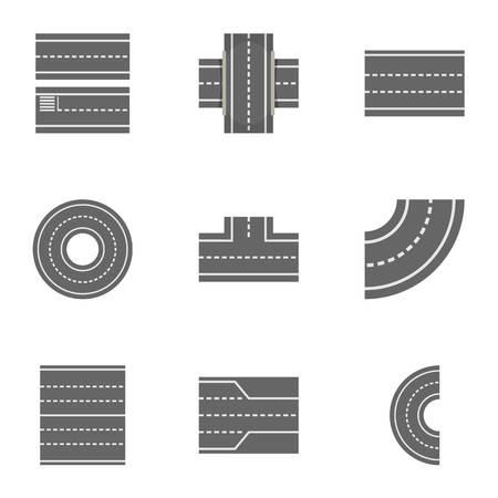Road constructor icons set, cartoon style. Illustration