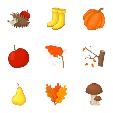 Autumn icons set, cartoon style.