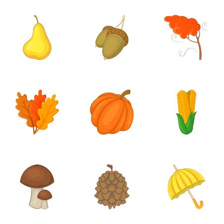 Autumn harvest icons set, cartoon style.