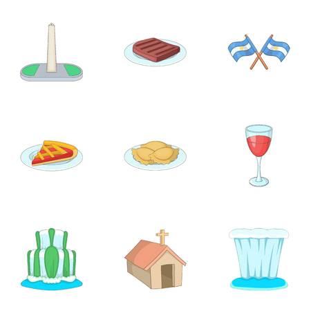 Argentina travel icons set, cartoon style. Illustration