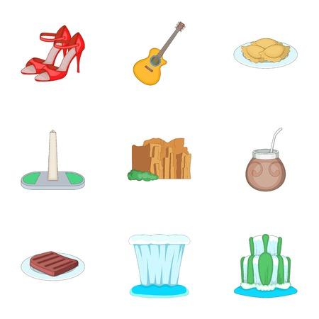 Argentina festival icons set, cartoon style