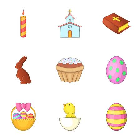 chick: Easter time icons set, cartoon style