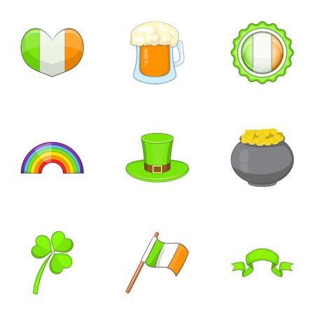 clovers: Ireland travel icons set, cartoon style Illustration