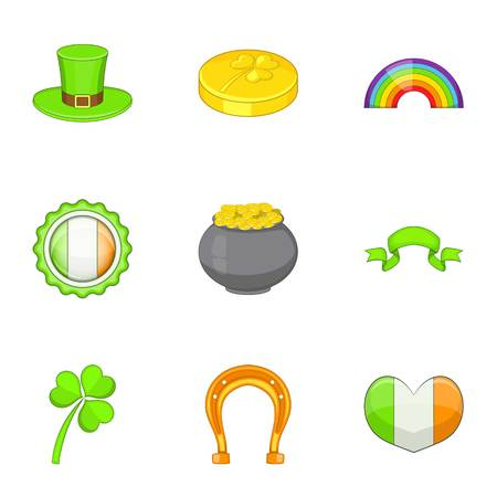 clovers: Saint Patrick day icons set, cartoon style