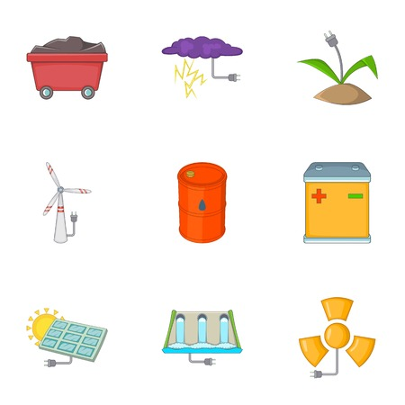 Eco energy icons set, cartoon style Illustration