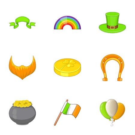 irish pub label design: Irish icons set, cartoon style
