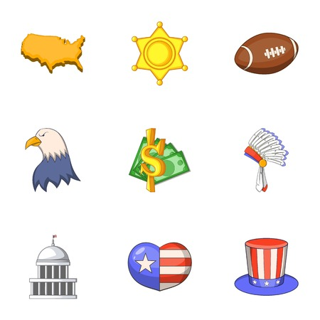 American icons set, cartoon style
