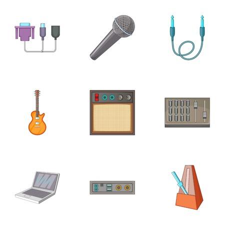metronome: Sound DJ icons set, cartoon style