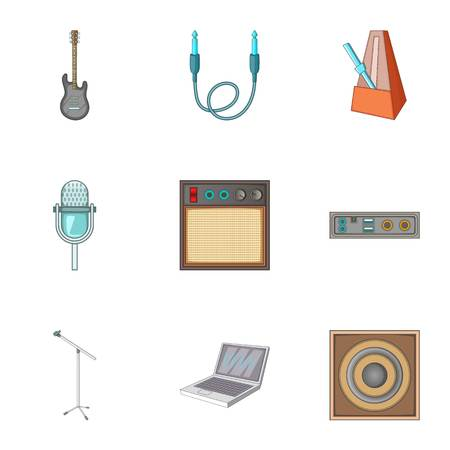 metronome: Music studio equipment icons set, cartoon style