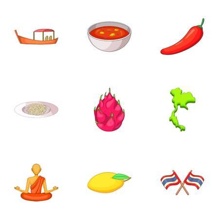 fried shrimp: Thailand day icons set, cartoon style Illustration