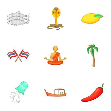 historical events: Thailand culture icons set, cartoon style