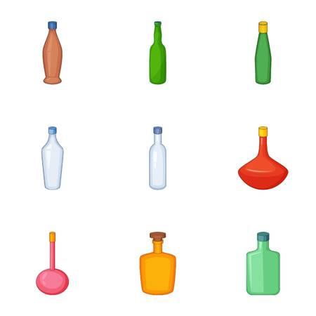 amber: Types of bottle icons set, cartoon style Illustration