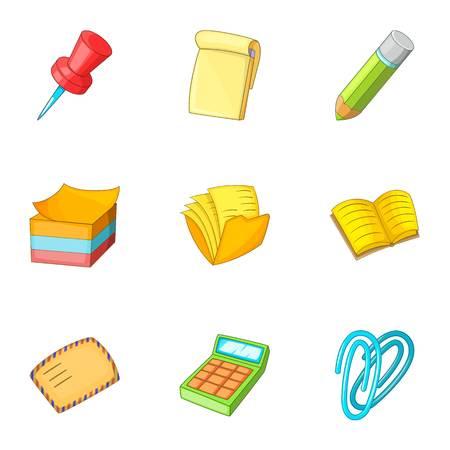 Paper work icons set, cartoon style
