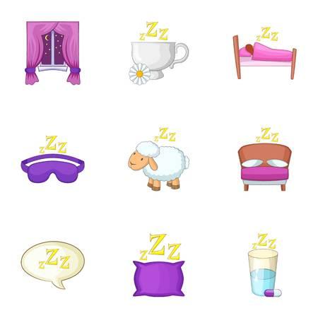 Sleep things icons set, cartoon style Ilustração