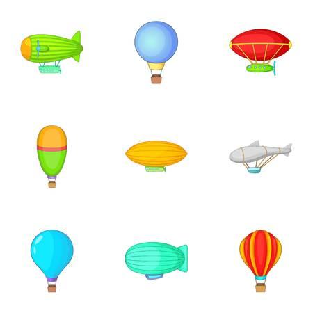 Air balloon and airship icons set, cartoon style