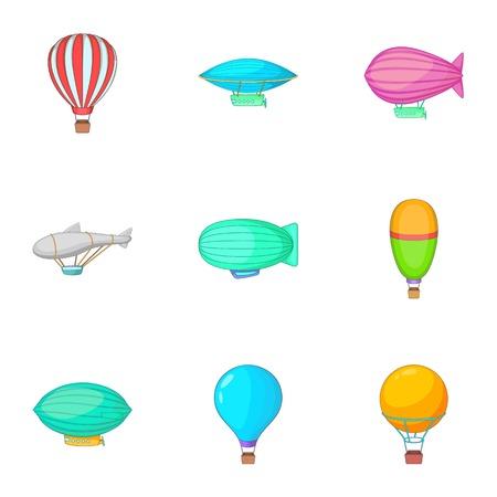 Different air transport icons set, cartoon style Illustration