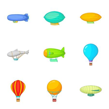 Old air transport icons set, cartoon style