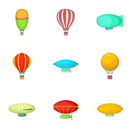blimp: Air balloon festival icons set, cartoon style Illustration