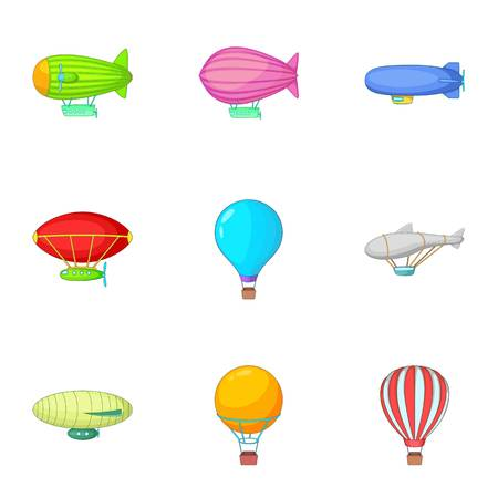 blimp: Types of airship icons set, cartoon style