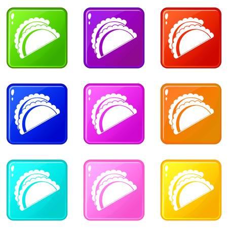 Empanadas de pollo icons 9 set