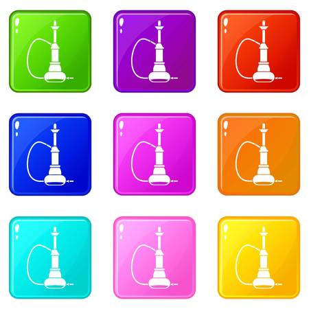 middle joint: Hookah icons 9 set