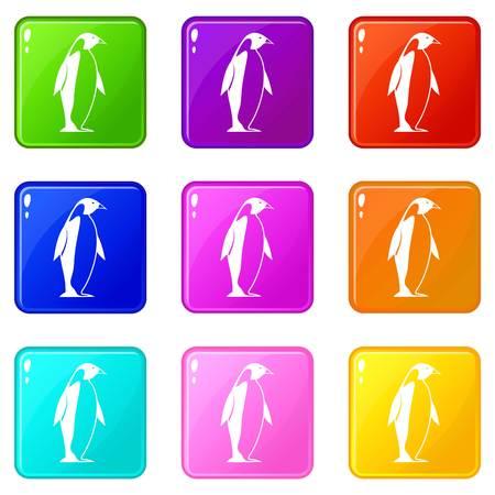 Roi penguin icons set 9 Banque d'images - 82150024