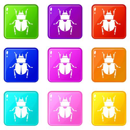 scarab: Scarab 9 icons set Illustration