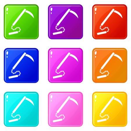 Kusarigama 9 icons set