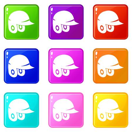Baseball helmet icons 9 set Illustration