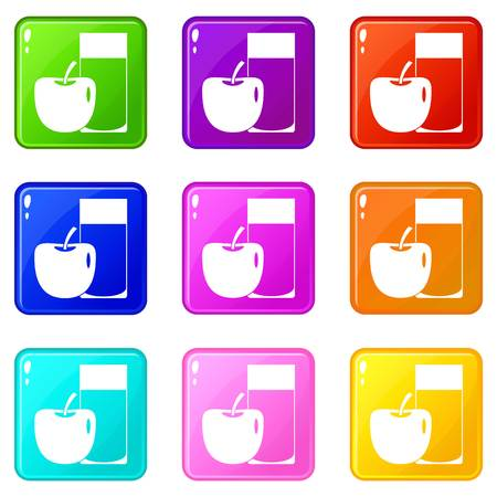 Glass of drink and apple icons 9 set Illustration