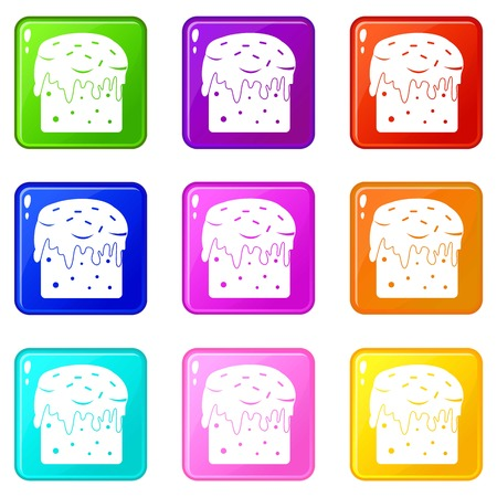 Easter cake icons 9 set