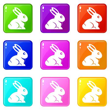 brown hare: Easter bunny icons 9 set